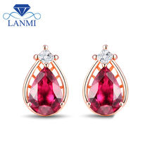 14k Rose Gold Earrings With Stones Pear 4x6mm Pink Tourmaline Party Diamond Earrings SE0253