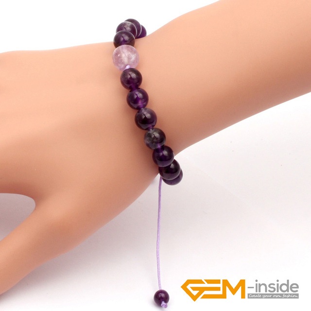 8mm 10mm Natural Amethysts Stone Bracelet Lucky Stone For Aquarius