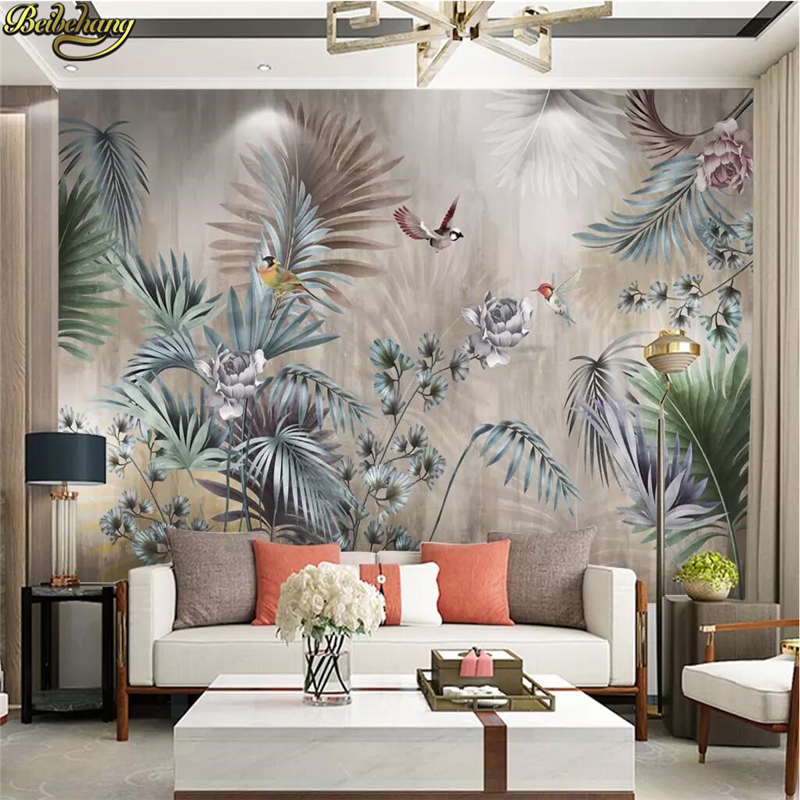 Beibehang Custom Photo Wallpaper For Walls Nordic Plant Leaves Wallpapers For Living Room Forest Bird Landscape Wall Paper Rolls