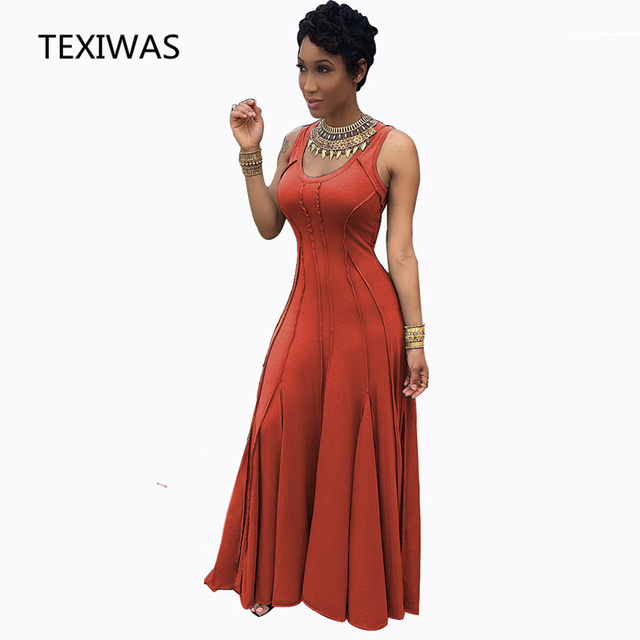 56c2a0e78f TEXIWAS Women s Evening Party Tall Waist Dress 2018 Solid Casual Stitching  Dress Sleeveless Plus Size Pleated Big swing Dress