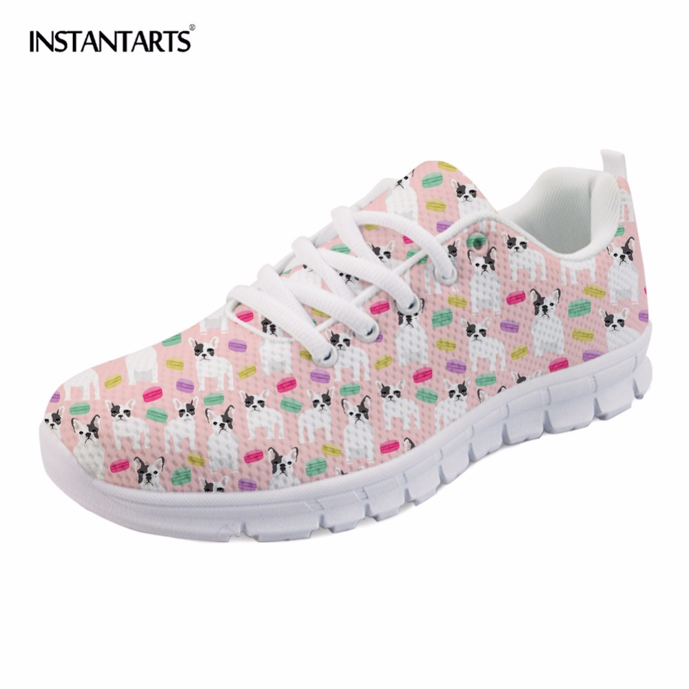 INSTANTARTS Women Breathable Sneakers Shoes Cute Animal Dog Pattern Woman's Leisure Shoes French Bull Terrier Mesh Lace-up Flats instantarts fashion women flats cute cartoon dental equipment pattern pink sneakers woman breathable comfortable mesh flat shoes