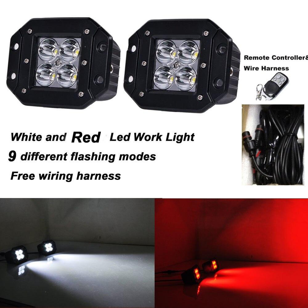 2pcs 4 Inch Spot Flush Mount LED Work Light 12V White Red Led Warning Light by RF Remote Free Wiring Kit 12v Led Fog light браслет power balance бкм 9652