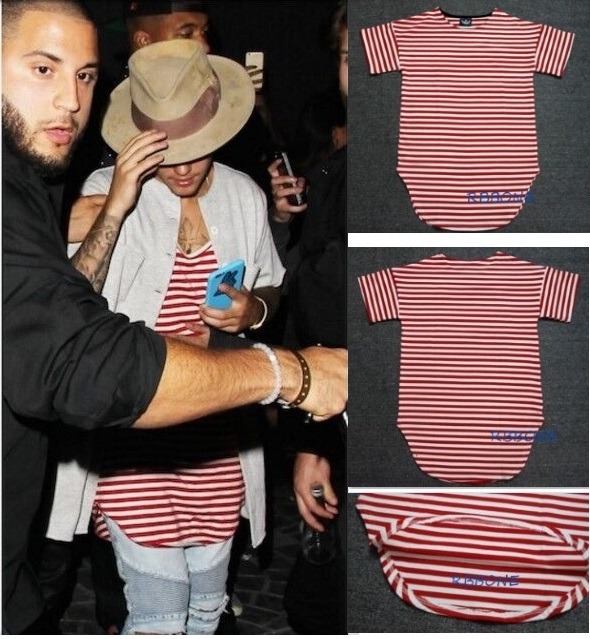 1dc5b66975d streetwear kpop hiphop clothes red white striped curved hem tee longline t  shirts slp couples matching clothing justin bieber