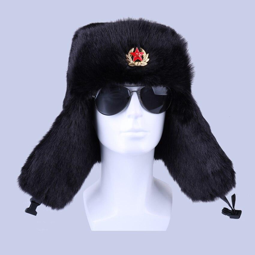 Invierno ruso Ushanka bombardero sombrero soviético insignia militar del ejército  sombreros de piel de conejo trampero aviador cosaco soldado de esquí de ... 68e523ed91a