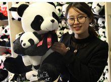 big new plush lovely bow panda toy stuffed panda& a baby doll  gift about 55cm