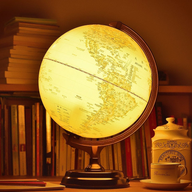 30cm HD Antique 3D Relief Earth Globe Table Lamp Student ...