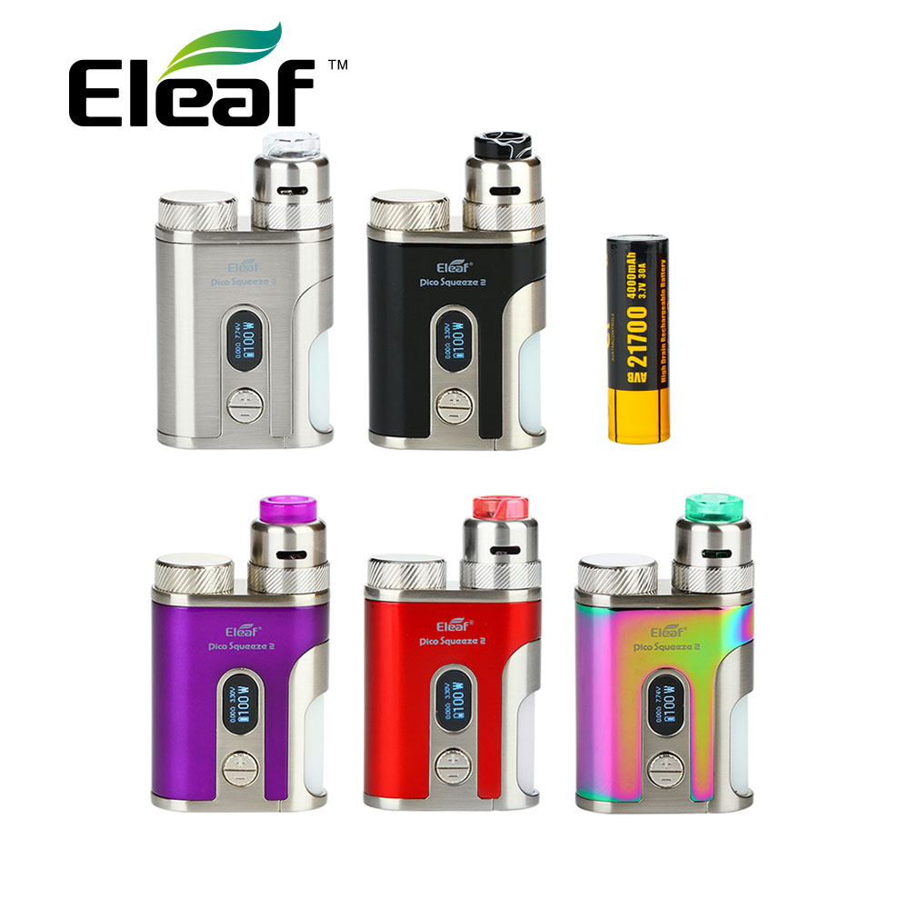 Kit Original Eleaf IStick Pico presser 2 batterie 4000mAh avec corail 2 RDA & 8ml Squonk bouteille Max 100W Kit Vape Vs IKuun I200