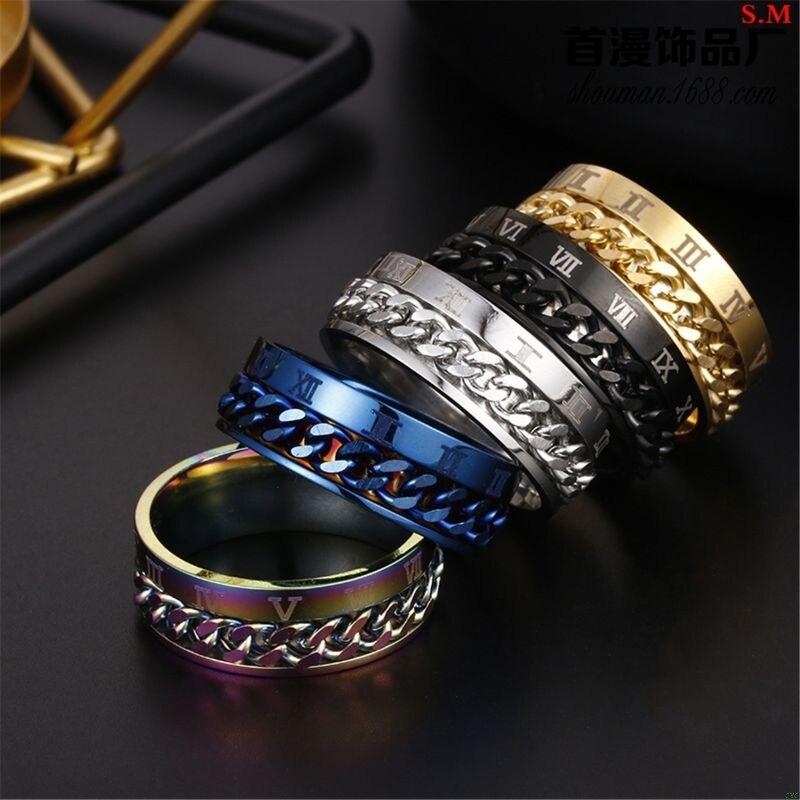 EDC Finger Fidget Spinner Stainless Steel Chain Rotatable Ring Men Classical Rome Digital Power Sense Gift