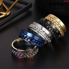 Finger Fidget Spinner Rotatable-Ring Chain EDC Stainless-Steel Digital Gift Power-Sense