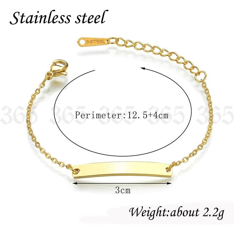 New Design Stainless Steel Custom Name ID Bar Bracelet For Boy Girl Gold Color Charm Children