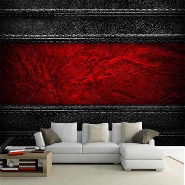 kalameng benutzerdefinierte 3d wallpaper design schwarz rot leder ... - Wohnzimmer Schwarz Rot