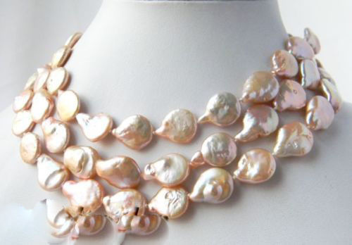 100% Selling full 45'' Pink 13mm Baroque Coin Freshwater Pearl Mabe Clasp Necklace