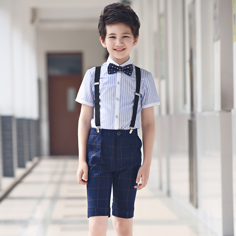Childrens suit 2018 New style summer fashion children flower girl dress host boy piano performance chorus strap boy suit