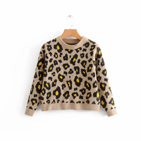 2018 New Fashion Autumn Women Leopard Sweaters Female Winter Sweater Knitting Pullovers O neck Casual pull femme hiver