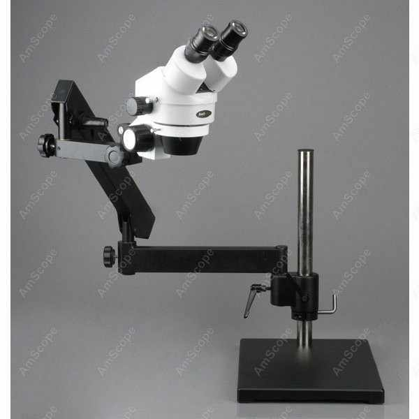 Microscope sur pied articulé-AmScope fournit un Microscope Zoom sur pied articulé 7X-90X avec plaque de Base + anneau lumineux