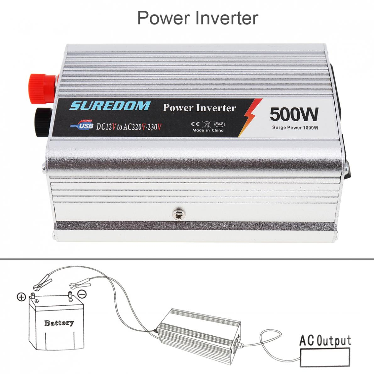 500W Car Inverter 12v 220v 50Hz Auto Inverter 12 220 Cigarette Lighter Plug  Power Converter Inverter Peak Power 1000W