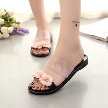 Femmes mignon transparent cristal gelée sandales chaussures cool rose dame plage flip flops femelle fleur casual rue pantoufles