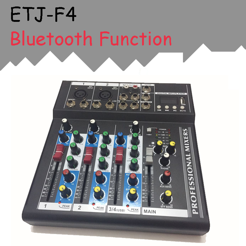 ETJ Brand 4 Channels With Bluetooth Function Audio Mixer With USB Input Sound Console DJ Equipment 48V Phantom Power Supply freeboss me82 ultra low noise 4 mono 2 stereo 8 channels 16 dsp usb professional dj audio mixer console