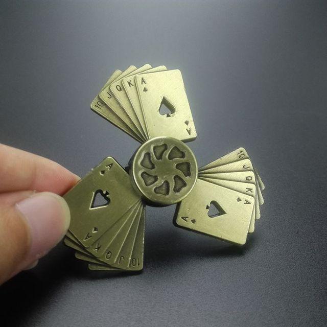Ретро Бронзовый Металл покер Спиннеры продолжительное вращение низкая шум Высокое скорость Fine craft ручной spinner