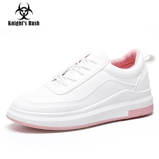 Hot Sale New Women's Genuine Leather Platform Shoes White Breathable Lady casual Shoes lace up girls loafers flats  mother shoes new hot sale children shoes pu leather comfortable breathable running shoes kids led luminous sneakers girls white black pink