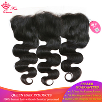 Queen Hair Products Free Part Body Wave Lace Frontal Closure 13x4 Brazilian Virgin Hair Natural Color 100% Human Hair