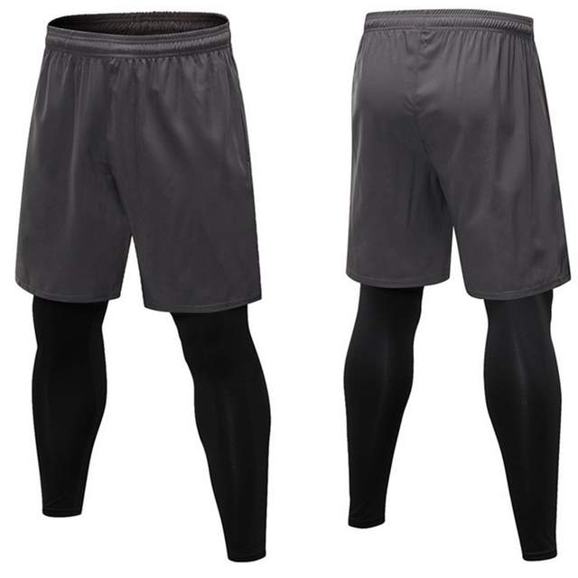 c2702513 Vertvie Black Skinny Running Pants 2 Piece Men Running Pants Set Training  Professional Gym Shorts+Legging Elastic Jogging Tights-in Running Pants  from ...