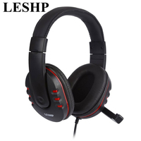 LESHP Laptop PC Computer Wired Headphone Stereo Music Gaming Headband Headset With Microphone Mic Earphone 3