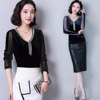 Autumn Korean T shirt V neck Tassel Office Lady Plus Size Tops Transparent T shirts Womens Patchwork T Shirt Mesh Long Sleeve