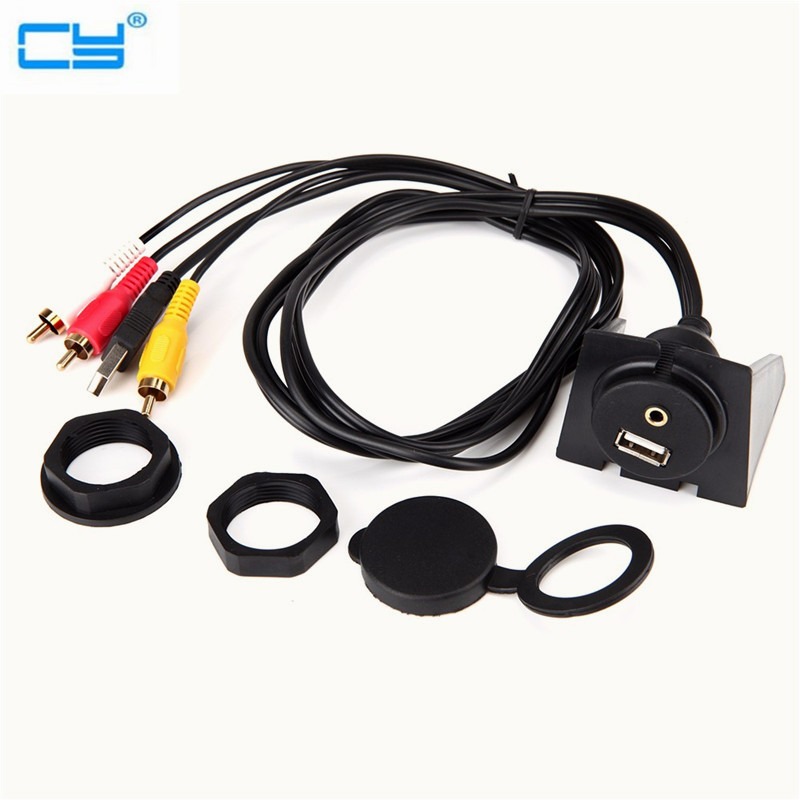 High Quality USB 2.0 Extension Lead Car Dashboard Flush Mount Set 3.5mm to 3RCA/USB Audio Video Extension Cable Connects 1M/2M black useful usb m f in car dash mounting panel installation aux extension adapter cable lead 1m length aqjg