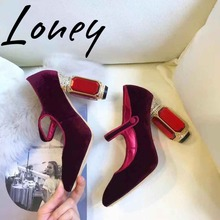 Loney New Luxury Brand Genuine Leather Round Toe Mary Jane Summer Spring Pumps Crystal heel Thick Heel HIgh Heels Shoes Women women s velvet med heel comforable mary jane pumps brand designer round toe spring new female cute footwear shoes for women sale