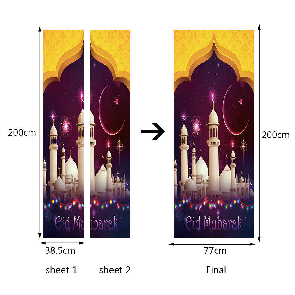 Muslim White Castles Grace Building Pattern Religious Door Sticker For Living Room Bedroom DIY PVC Self Adhesive Wallpaper
