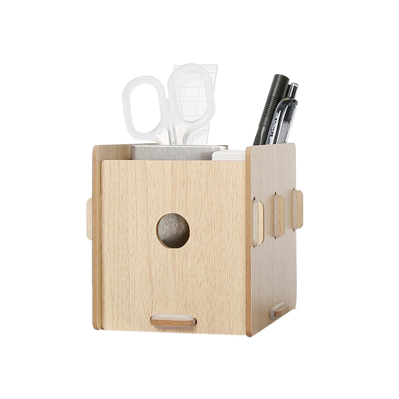 Colorful Wooden Pen Container Multi-Functional Office Desk Organizer Eco-Friendly Wood Stationary/Sundries Storage Box