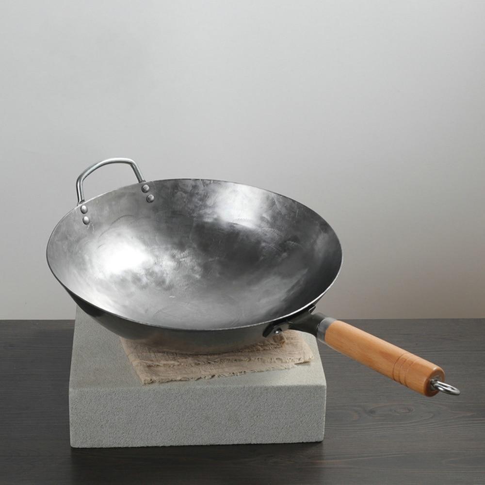 Haute qualité chinois fer Wok traditionnel fait à la main fer Wok poêle anti-adhésif cuisinière à gaz ustensiles de cuisine