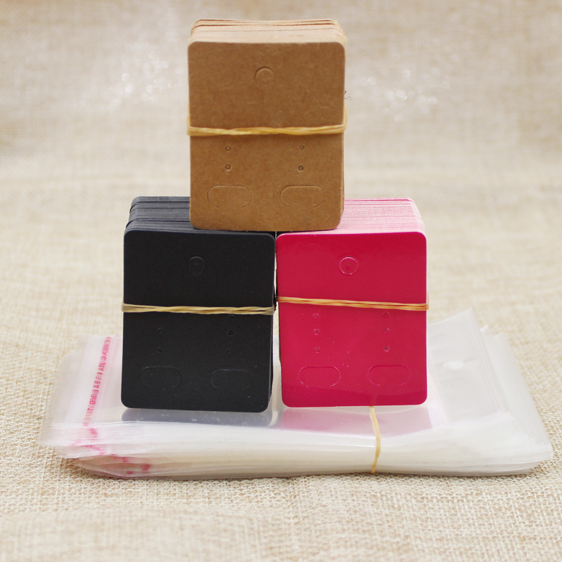 5*4cm Kraft/rose /black Color Blank Paper Stud Earring Card 100pcs+100 Oppbag For Jewelry Earring Hanging Display Tag