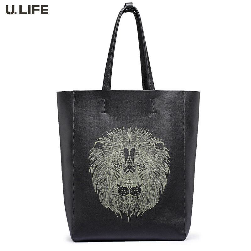U.LIFE - New Lion Totems Gurantted Quality Simple Elegant Personized Genuine Leather Soft Men's Handbags Casual Totes J50