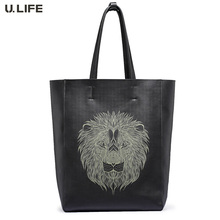 U.LIFE – New Lion Totems Gurantted Quality Simple Elegant Personized Genuine Leather Soft Men's Handbags Casual Totes J50