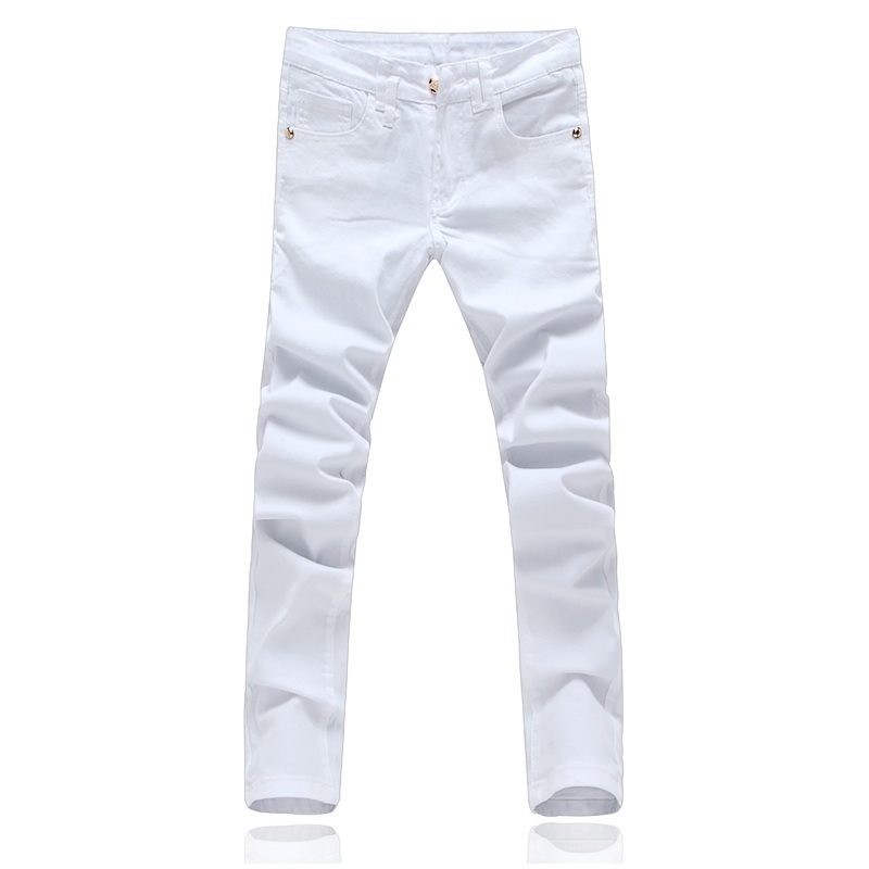 Cigna High Quality White Black Mens Jeans Fashion Business Casual Men Jeans Slim Fit Male Denim Trousers Small Elasticity 28-36