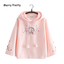 Merry Pretty Women Floral Embroidery Pink Hooded Sweatshirts 2019 Winter Flare Sleeve Plus Velvet Thick Hoodies Sweet Pullovers