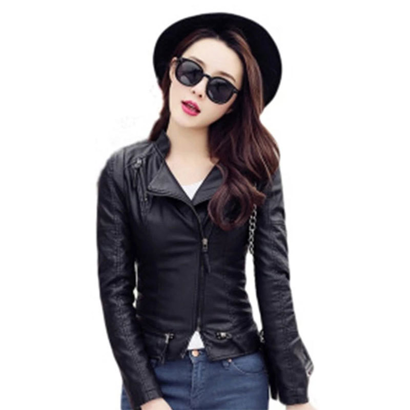 New Pattern European Autumn Clothing Womens Faux Leather Jacket Self-cultivation Pu Leather Jacket Woman Markdown Sale Fashion
