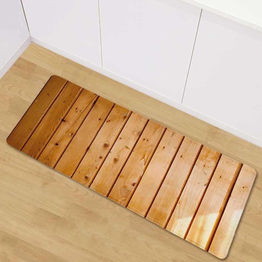 Lyngy retro wood pattern kitchen mat soft flannel antiskid kitchen floor mat rug entrance long mats
