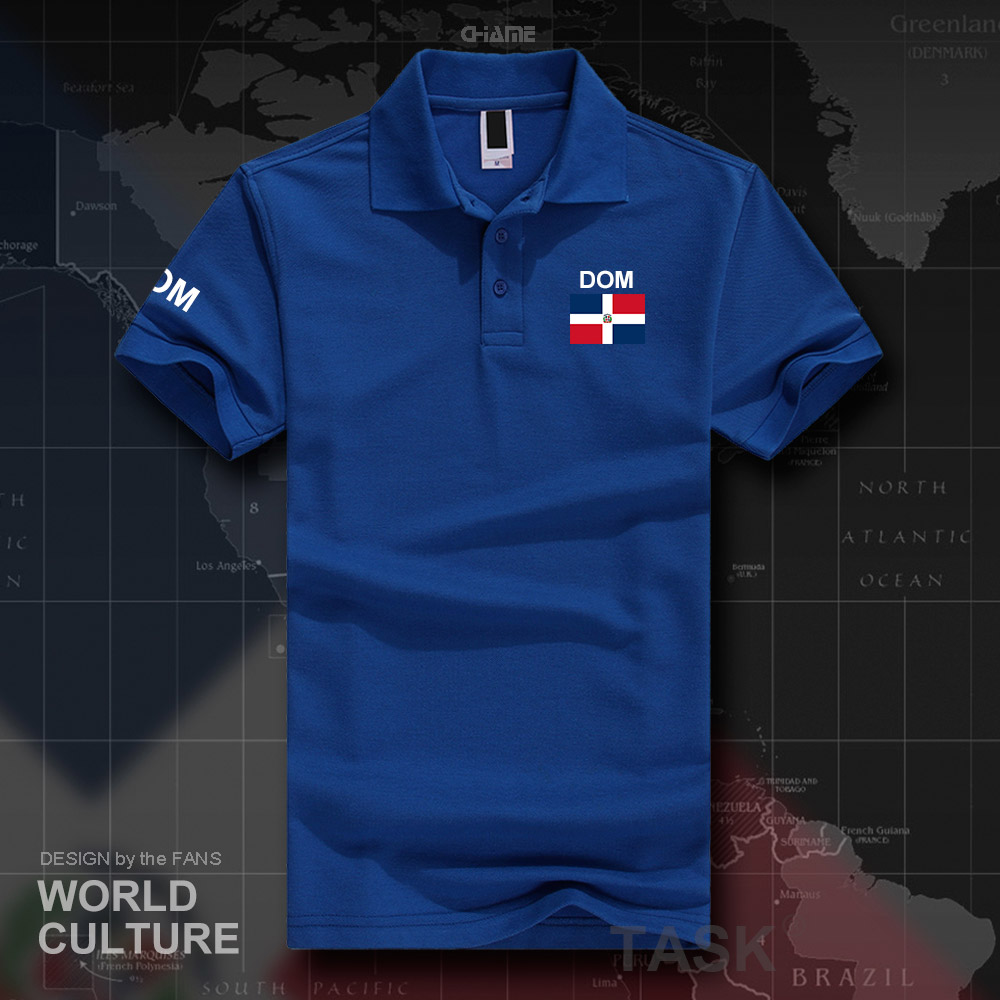 Dominican Republic Flag Mens Short Sleeve Polo Shirt Classic-Fit Blouse Sportswear