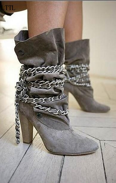Big Size 10 Fashion Grew Suede Leather Popular Chain Round Toe Med Spike Heels Mid-Calf Women Shoes Spring Autumn Short Boots