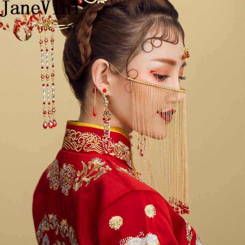 JaneVini 2019 Chinese Wedding Bride Face Veil Beaded Tassel Veiling Eastern Style Bridal Head Jewelry Pageant Hair Accessories
