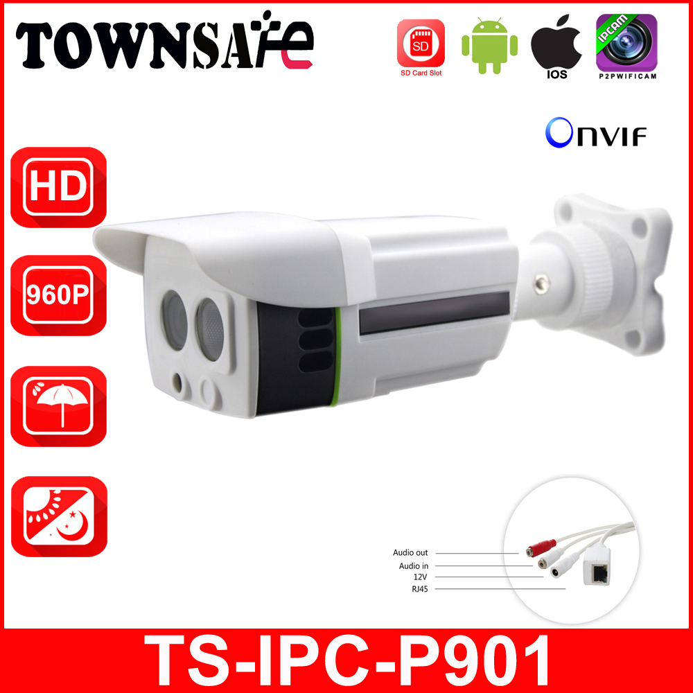 TOWNSAFE new TS-IPC-P901 ONVIF HD 960P 1.3MP Bullet IP Camera Outdoor Project High Quality Array IR LED with SD/TF Card Slot P2P bullet camera tube camera headset holder with varied size in diameter
