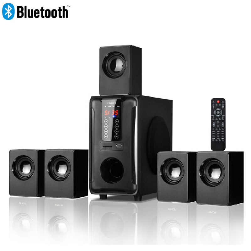 5.1 Channel Home Theater Sistem Speaker, Bluetooth \ \ USB \ SD \ FM Radio Remote Control Panel Sentuh, dolby Pro Suara Surround