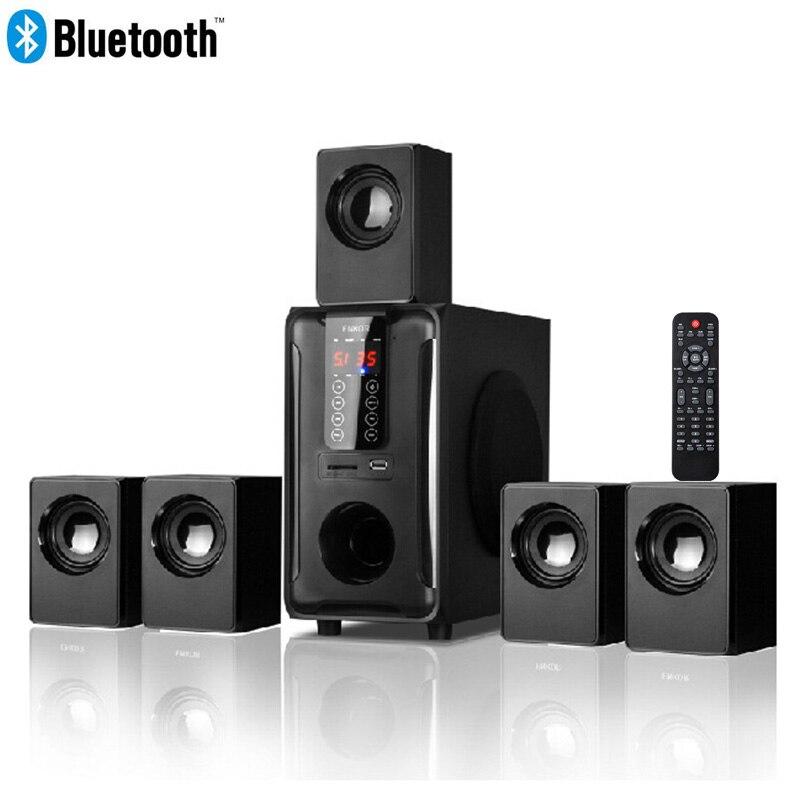 5.1 kanal ev sinema hoparlörü sistemi, Bluetooth \ USB \ SD \ FM radyo dokunmatik uzaktan kumanda paneli, dolby Pro Logic Surround ses