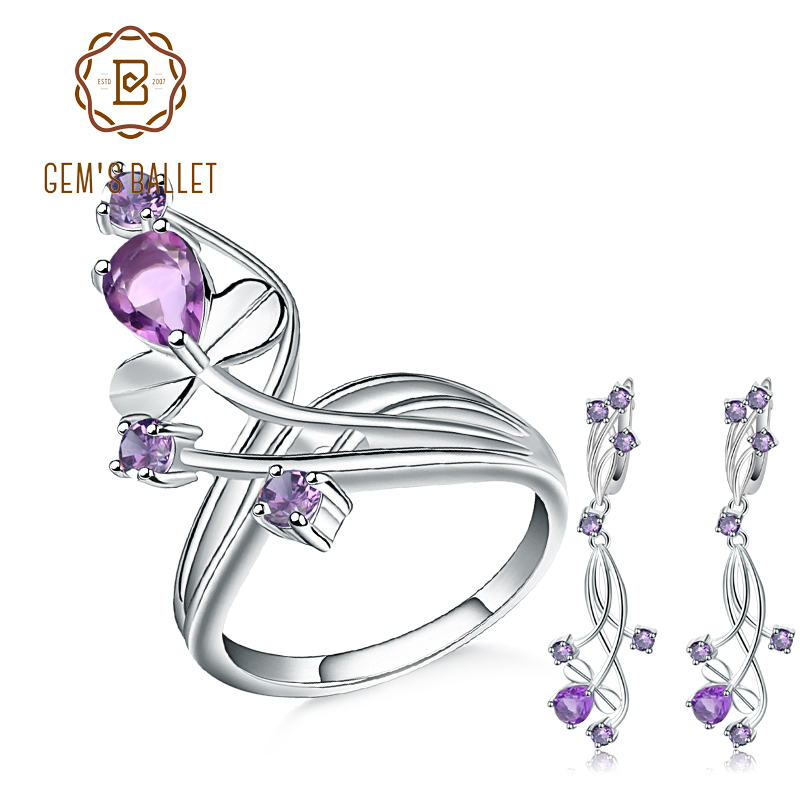 GEM'S BALLET Natural Amethyst Gemstone Flower Jewelry Set 925 Sterling Silver Earrings Ring Set For Women Wedding Fine Jewelry