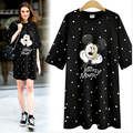3xl plus big size women clothing dress 2016 summer style korean vestidos black spot cartoon mickey T-shirt dress female A0958