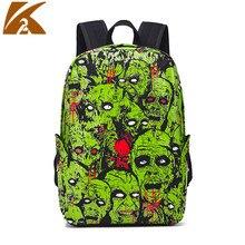 KVKY Punk Canvas Backpack Women Fashion Green Skull School Bags for Teenagers Girls Travel Backpack Bag Mochilas Feminina