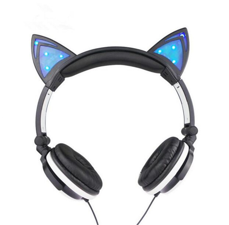 Cute Cat Wired Girl Kid Foldable Headphone Stereo Headset Headband Earphone with LED Light Headphones Suitable for Gift Gilr